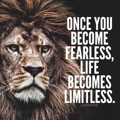 Image result for when we have no more fear life becomes limitless