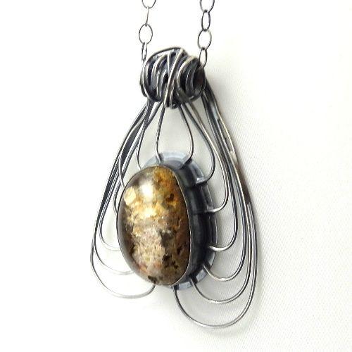 kwarc,zima,mineralny,srebro,blask,złoty,surowy - Wisiory - Biżuteria w ArsNeo