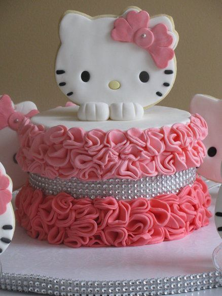 A ruffle Hello kitty cake with sugar cookies by Sandra Caputo