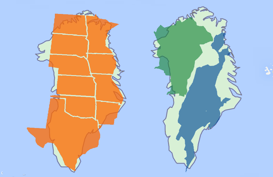 Greenlands size in comparison to the two largest islands after it explore us map cartography and more greenlands size gumiabroncs Image collections