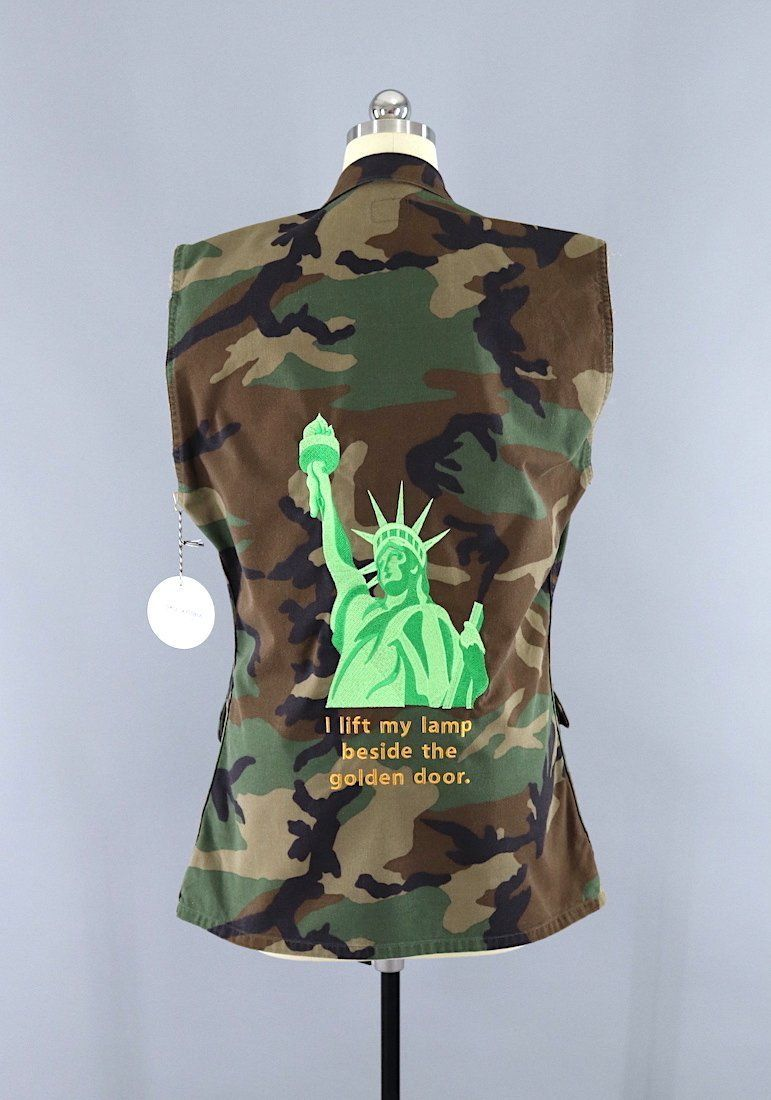 Statue Of Liberty Embroidered Camo US Army Vest / I Lift My Lamp Beside The  Golden
