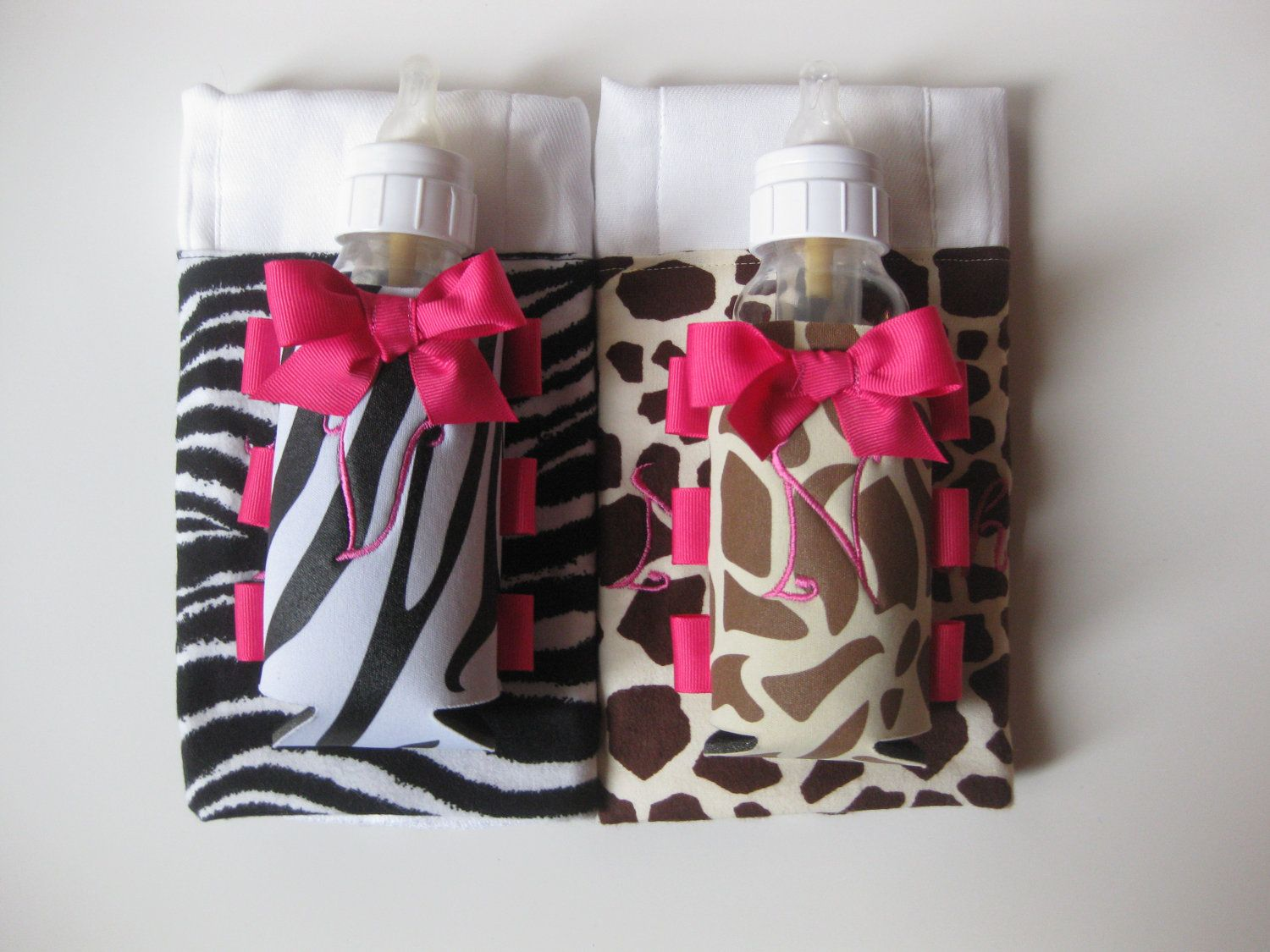 Personalized animal print baby gift baby bottle swaddle items similar to personalized animal print baby gift baby bottle swaddle coordinating burp cloth on etsy negle Images