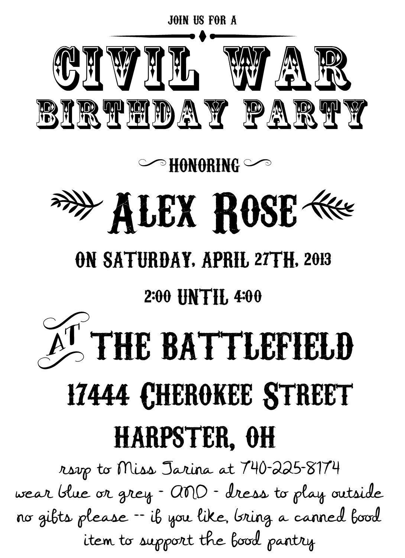 Civil War Birthday Party Invitation Idea