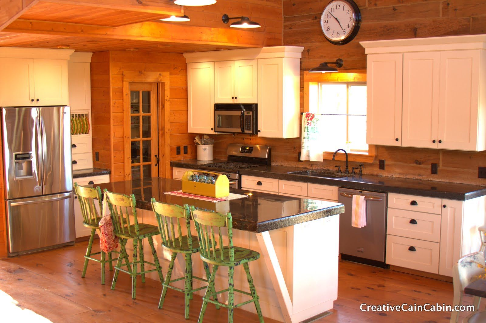 Come On And Get Cozy In A Rustic Log Cabin Home Tour Debbiedoo S Log Home Kitchens Log Cabin Kitchens Cabin Kitchens