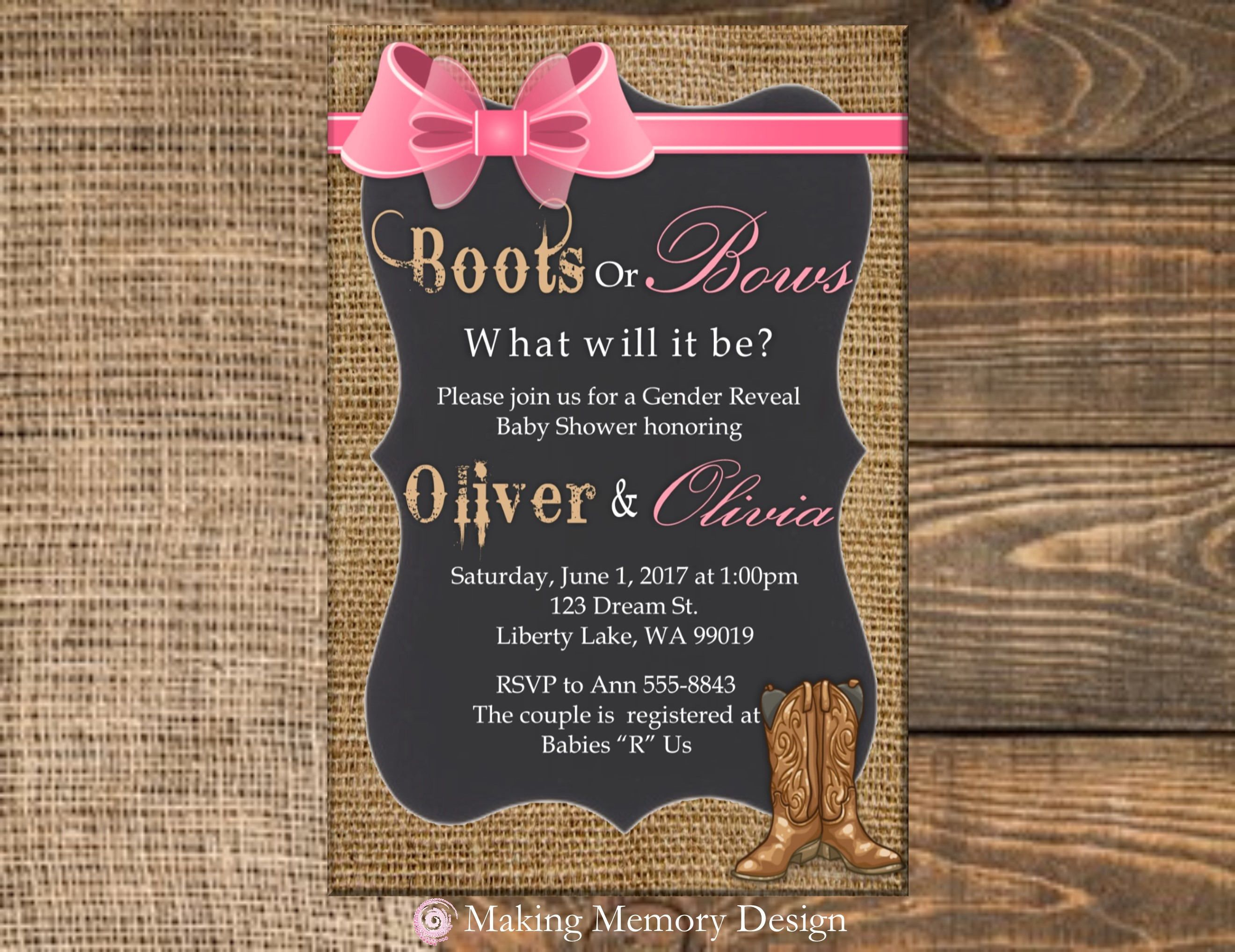 Boots or Bows Gender Reveal Baby Shower Invitation