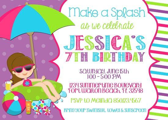 Get Free Printable Pool Party Birthday Invitations