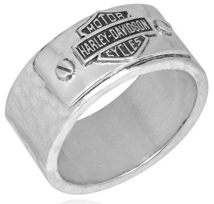 Harley Davidson SZ10 sterling Mens ring HAMMERED Bar Shield band