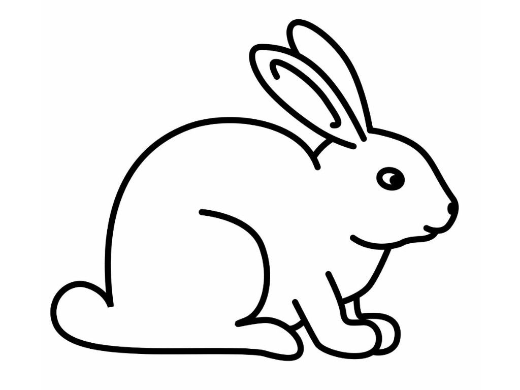 Bunny Black And White Rabbit Coloring Pages For Kids Clipart In