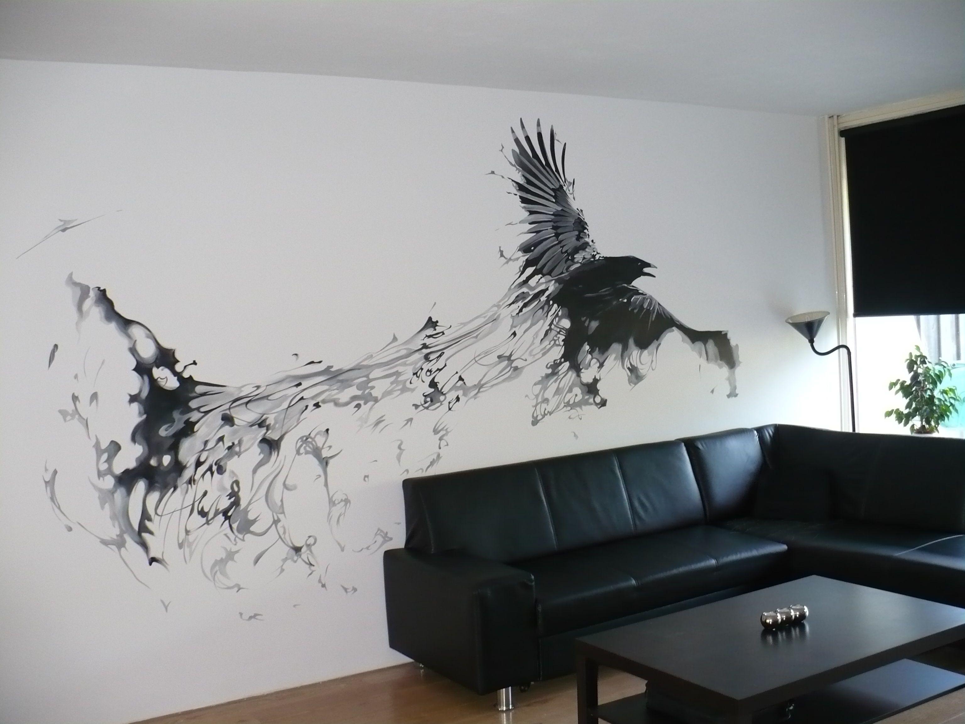 muurschildering kraai raaf woonkamer | muurschildering | Pinterest ...