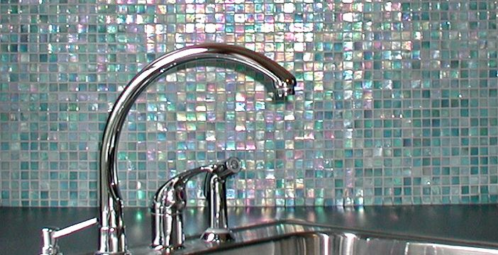 iridescent mosaic tiles for kitchen backsplash or bathroom a home rh in pinterest com Iridescent Mosaic Glass Tiles Backsplash Black and Brown Iridescent Glass Tile Backsplash