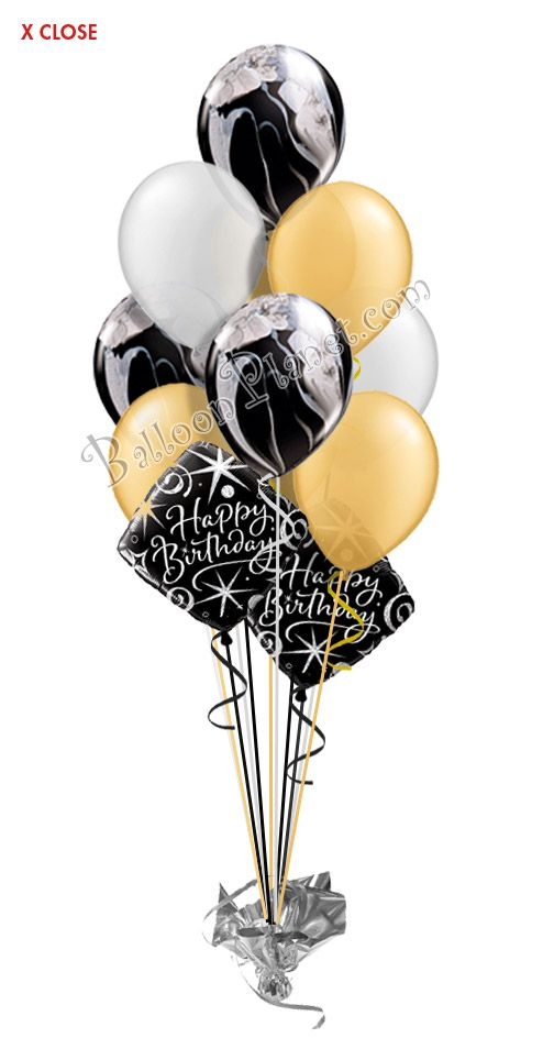 black gold balloon bouquet - google