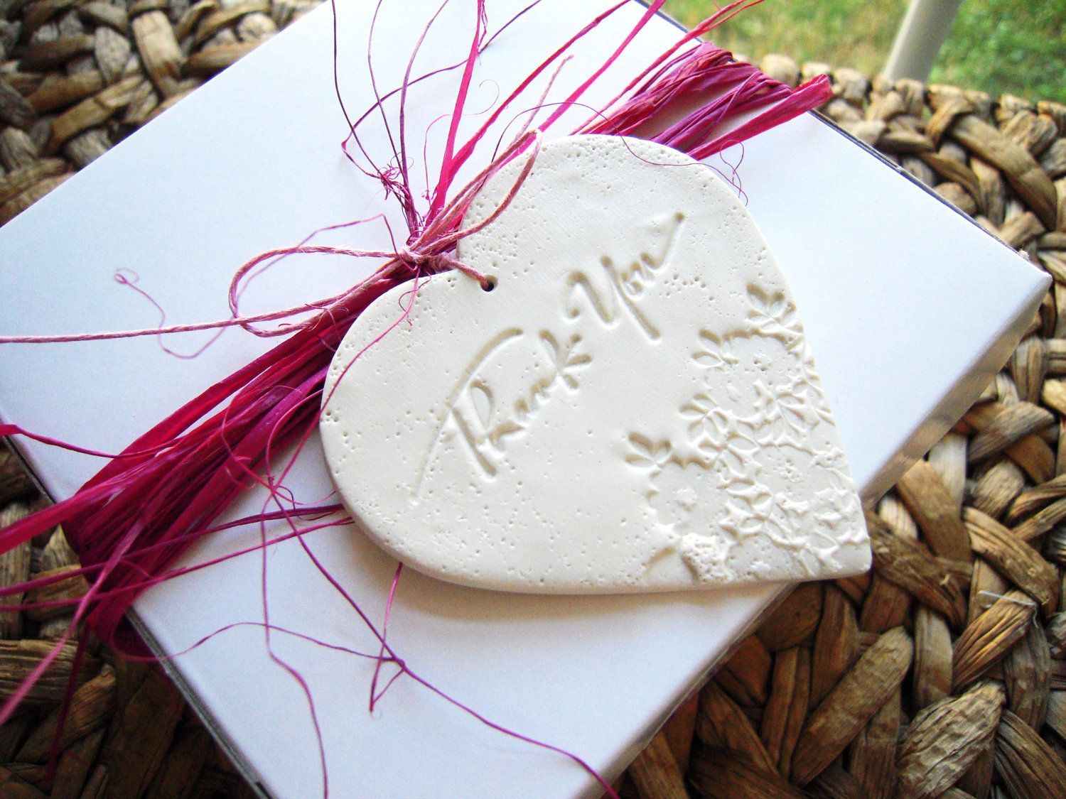 Wedding Favor Thank You Tags Gift Hang Tag Set of 20 Polymer Clay ...