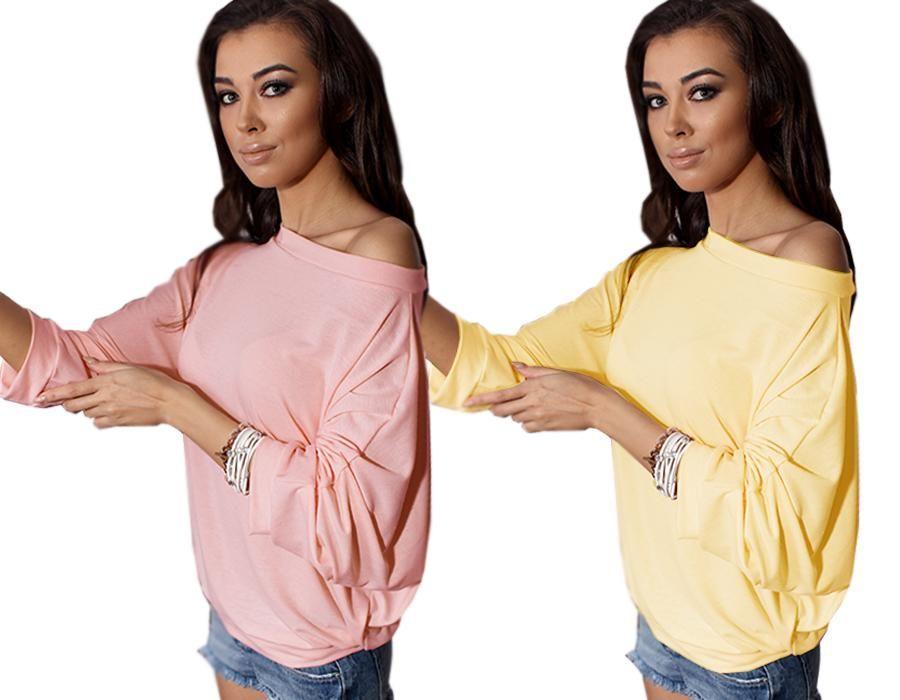Bluzka Tunika Total Oversize Opadajace Ramie P257 5396557590 Oficjalne Archiwum Allegro Open Shoulder Tops Fashion Women S Top