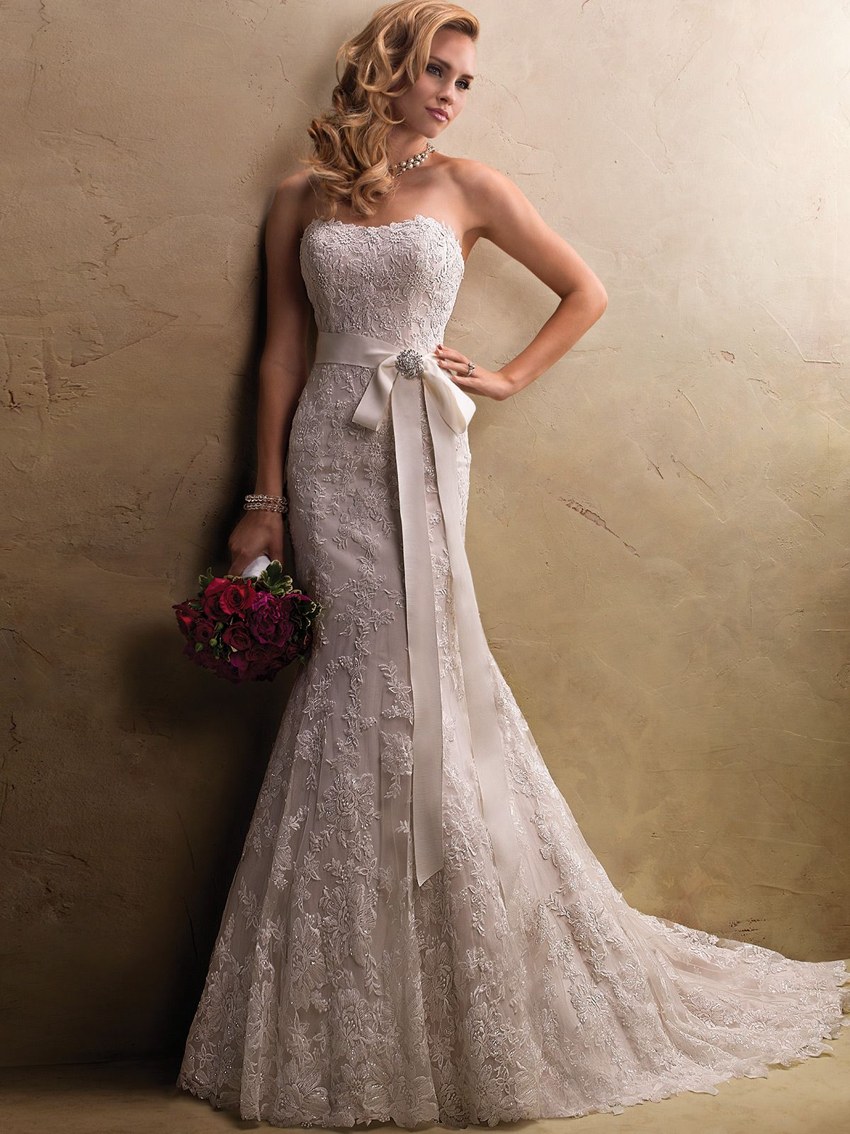 Strapless Lace Motifs Wedding Gown Maggie Sottero Judith
