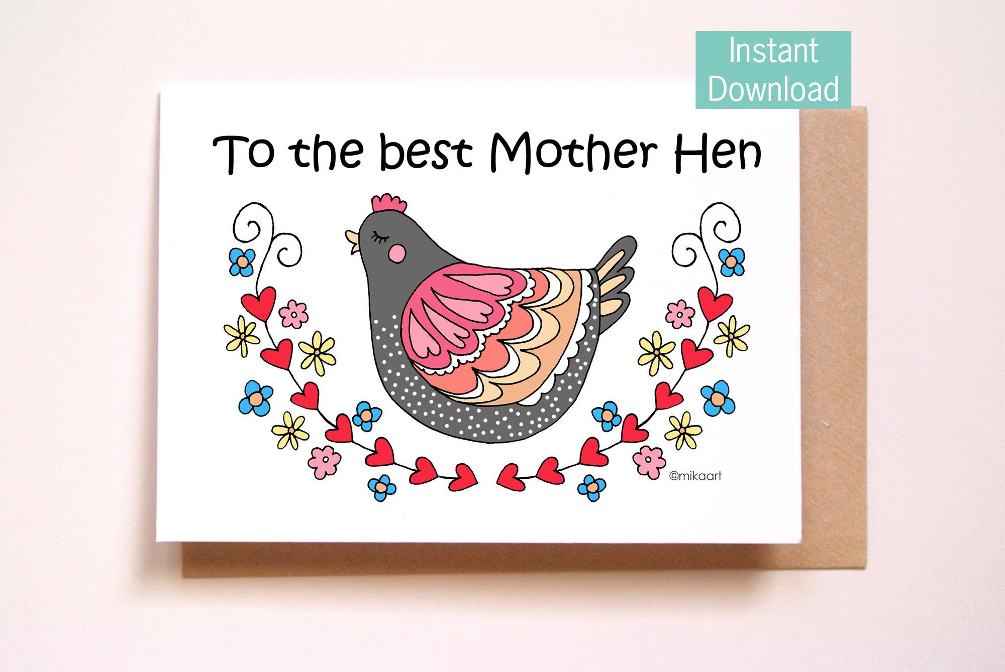 Funny birthday card for mom printable cute chicken mama