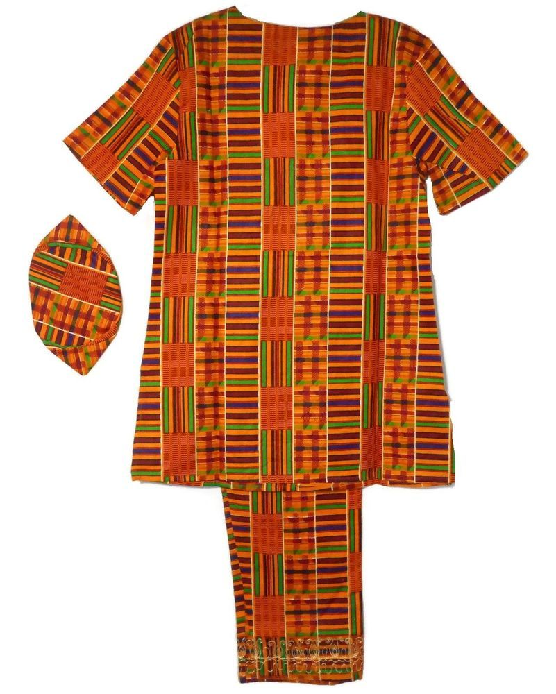 """African Kid Clothing Pant Suit Outfit Black Gold Size 10//12 Fit up to 36/"""" around"""