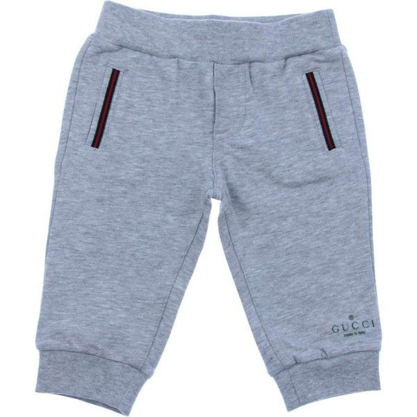 f96d5110 GUCCI Baby Boys Grey Jersey Bottoms With Web Striped Pockets ($135 ...