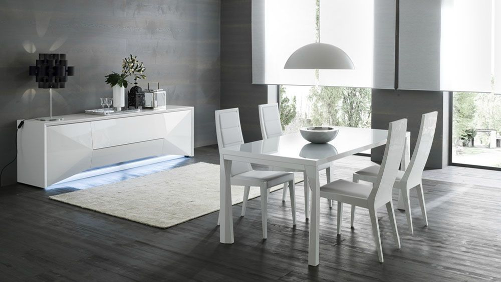 High Class Rectangular Fristed Glass Top Leather Dinner Furniture Set Boston Massachusetts RSPRI Prime Classic Design Inc Italian Modern