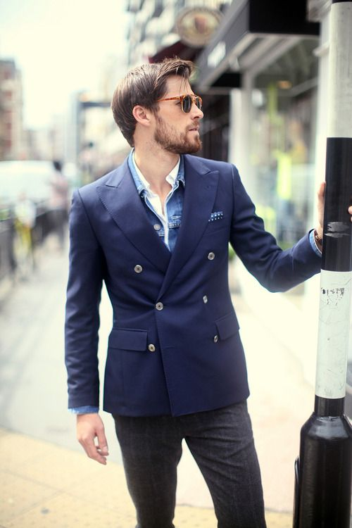 Men's Blue Denim Jacket, Navy Double Breasted Blazer, White Long ...