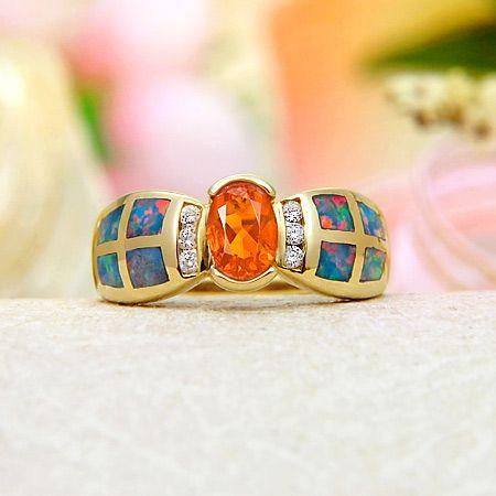 $4164.99 JeGem 14k Yellow Gold Diamond, Mexican fire opal, Rainbow Fire Australian Black Opal Inlay Ring Jewelry Material: 14k yellow gold ...