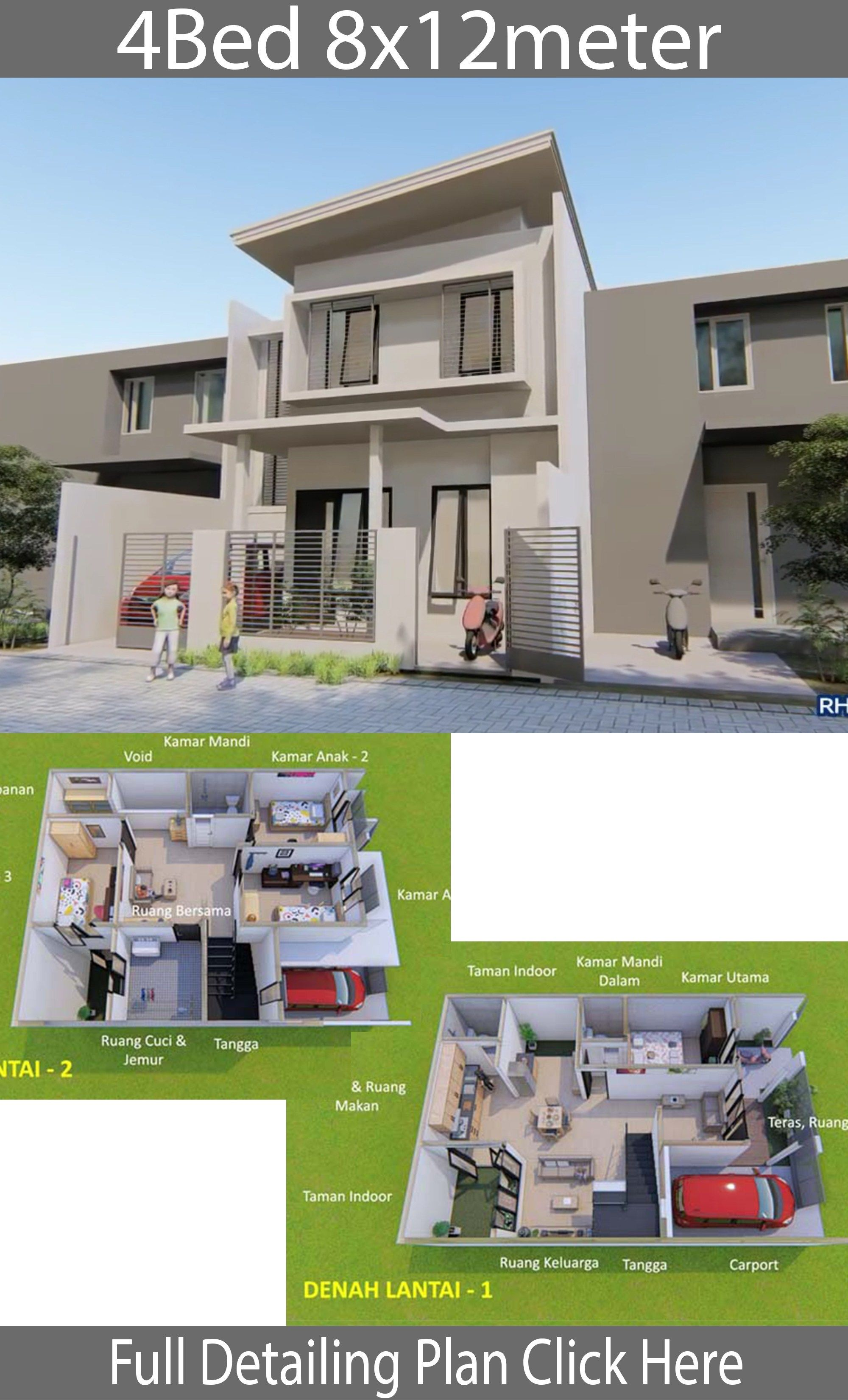 Home Design Plan 8x12m With 4 Bedrooms Simple Minimalist House Design On 8x12 Meters Land With 4 Bedrooms 2 Fl House Design Home Design Plans Home Design Plan