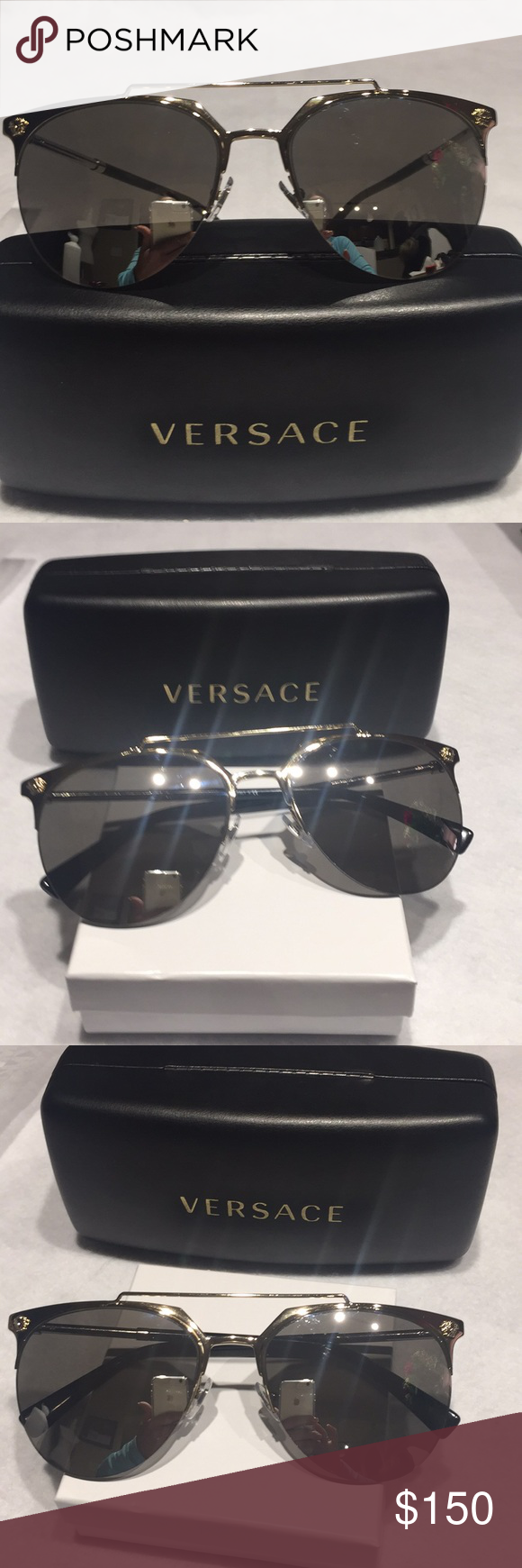 6b0ad023113f Spotted while shopping on Poshmark  NEW VERSACE AVIATOR GOLD SILVER  SUNGLASSES!  poshmark