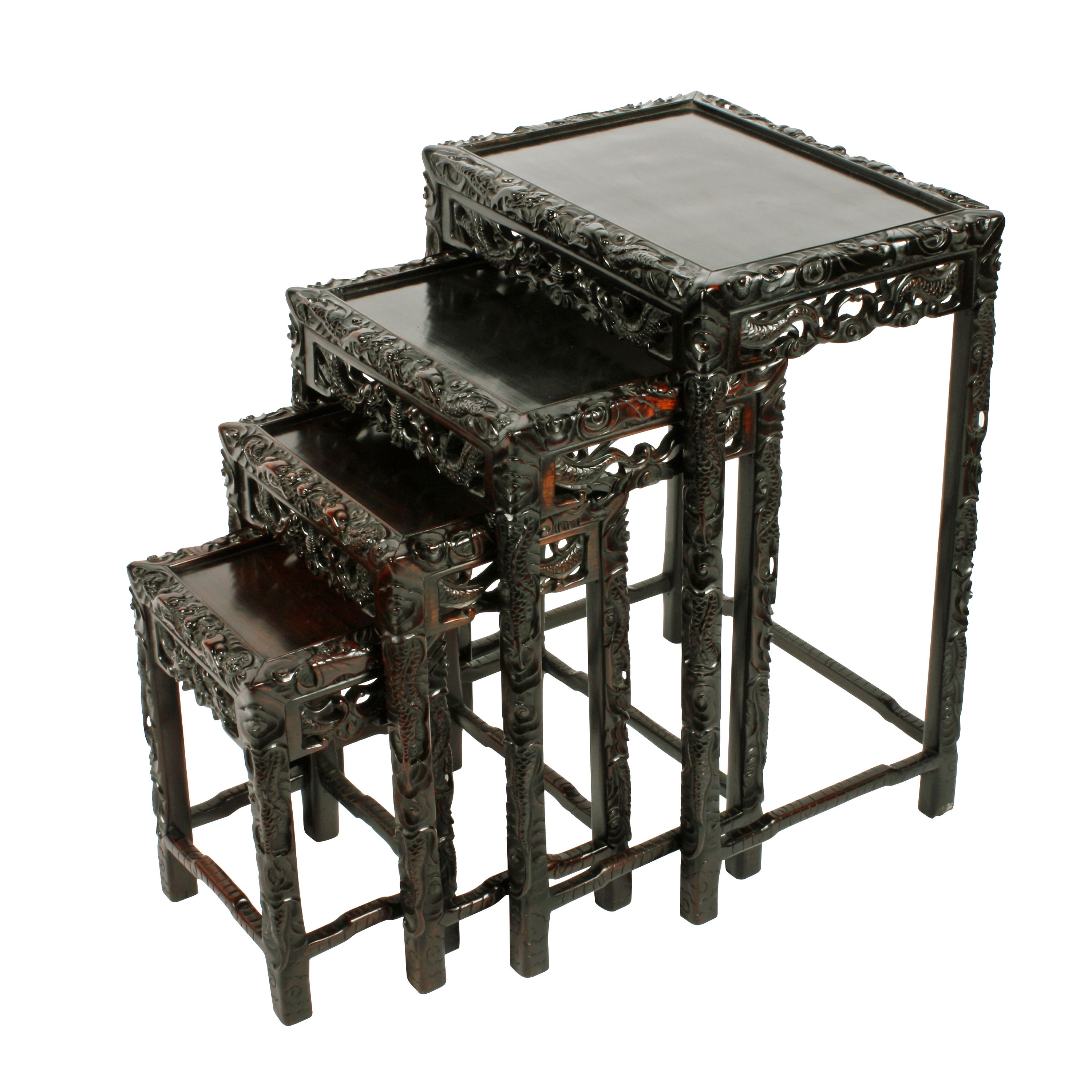 Cheap Vintage Couches: Nest Of Four Chinese Rosewood Tables In 2019