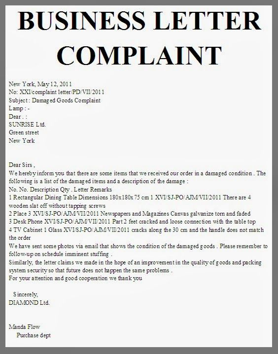 letter of complaints template