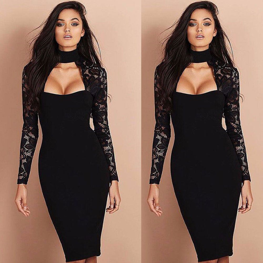 Women Cowl Neck Bandage Bodycon Long Sleeve Evening Party Cocktail Pencil Dress