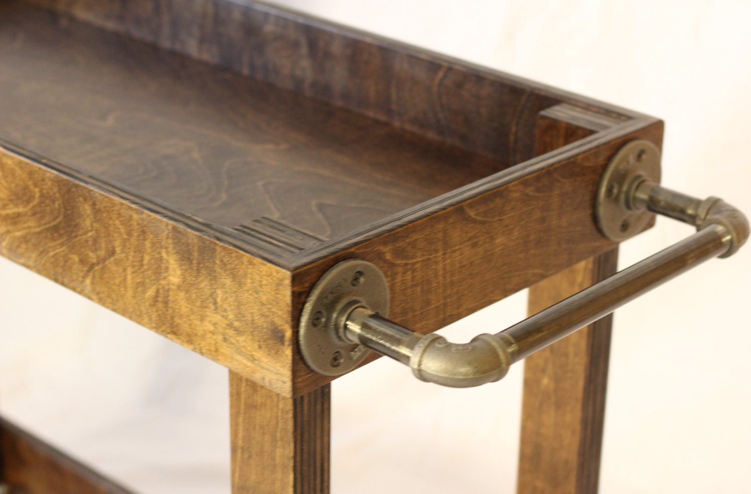 wood towel bar. Wood Bar Cart With Casters And Industrial Pipe Towel Bars