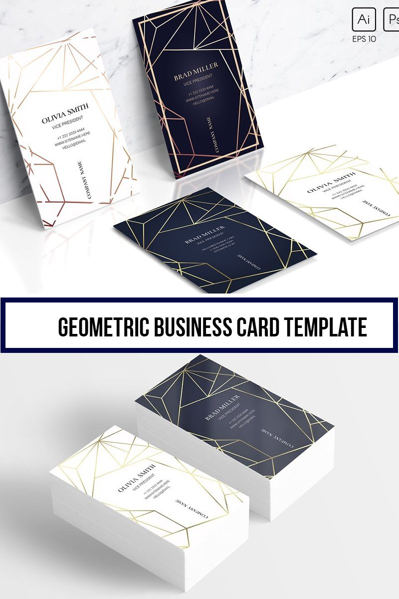 Geometric Business Card Template Fashion Business Cards Business Cards Creative Business Card Design