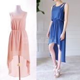 $ 5.85 Korea Women's Summer Slim Fit Round Collar Irregular Hem Sleeveless Chiffon Long Dress