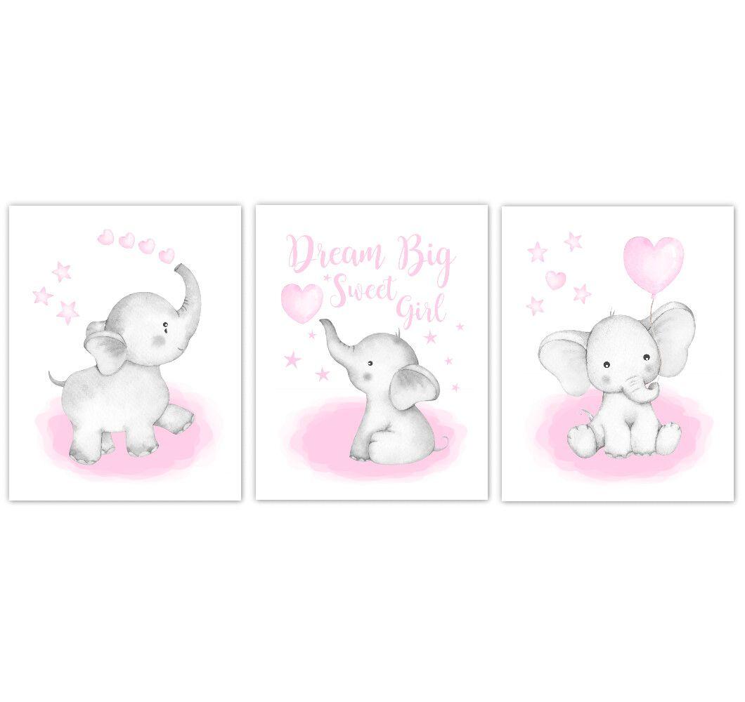 Watercolor Pink Elephants Baby Nursery