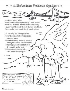 Coloring Page Poems A Noiseless Patient Spider By Walt Whitman