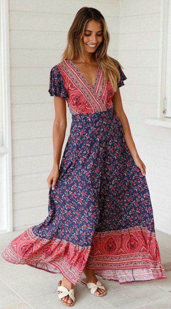 Navy Red Floral Sun Dress | Floral print maxi dress, Short