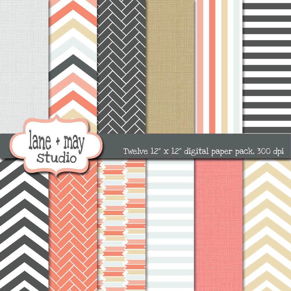 coral gray and khaki digital scrapbook papers by laneandmay, $5.00