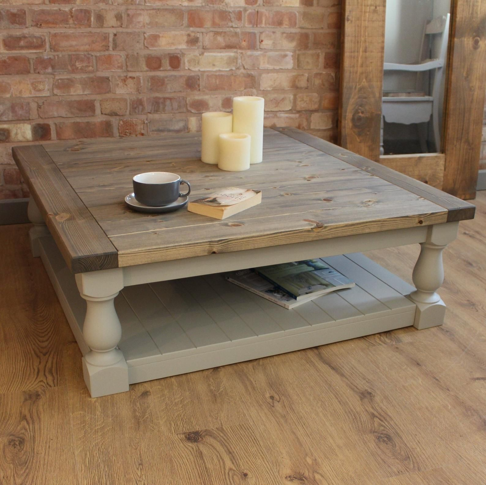 Large Square Handmade Solid Pine Farmhouse Coffee Table Etsy Painted Coffee Tables Coffee Table Farmhouse Round Wood Coffee Table [ 1587 x 1588 Pixel ]