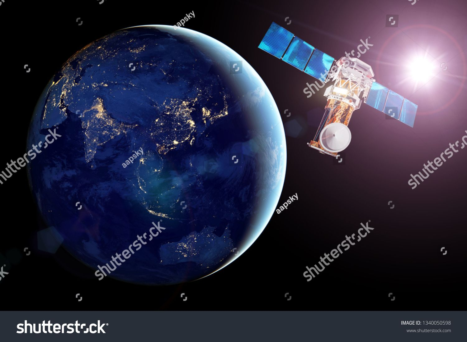 Communication Satellite In Earth Orbit View Of The Night Side Of The Planet Luminous Night Cities And Bright Sun Elements Of This Image Furnished By Nasa Ad En 2020