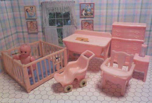 Renwal 7 PC BABY ROOM NURSERY Vintage Dollhouse