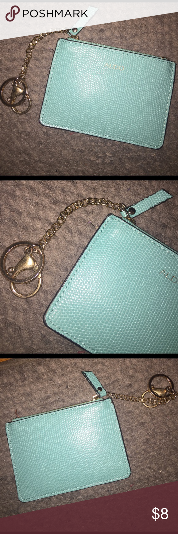 ALDO Turquoise Coin Purse/Pouch 👛 This cute little ALDO coin purse is in good condition. Perfect color for spring! I use it as a little wallet on the go. NO TRADES PLEASE 🙃 Aldo Bags