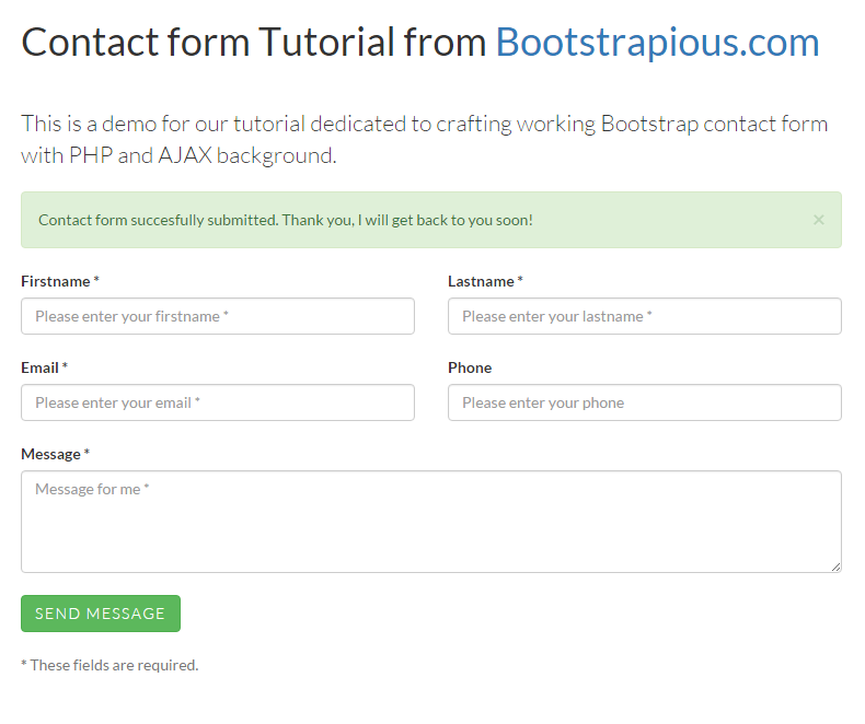 Bootstrap Contact Form Php Validation  Web Development