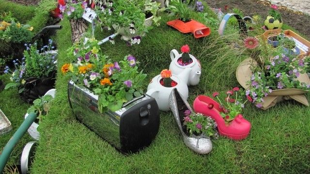 Planter Garden Ideas simple planter ideas for small gardens shoes organizers Garden Toaster And Small Appliance Planter Ideas