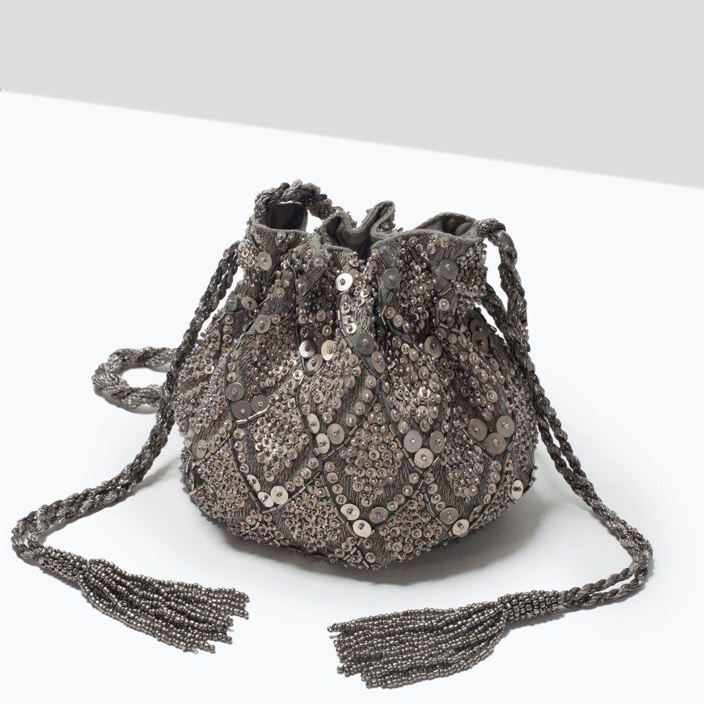 Zara Collection Aw15 Beaded Drawstring Bag Wear It