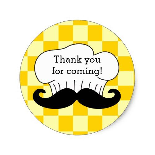 Chefs hat mustache italian pizza party thank you classic round sticker
