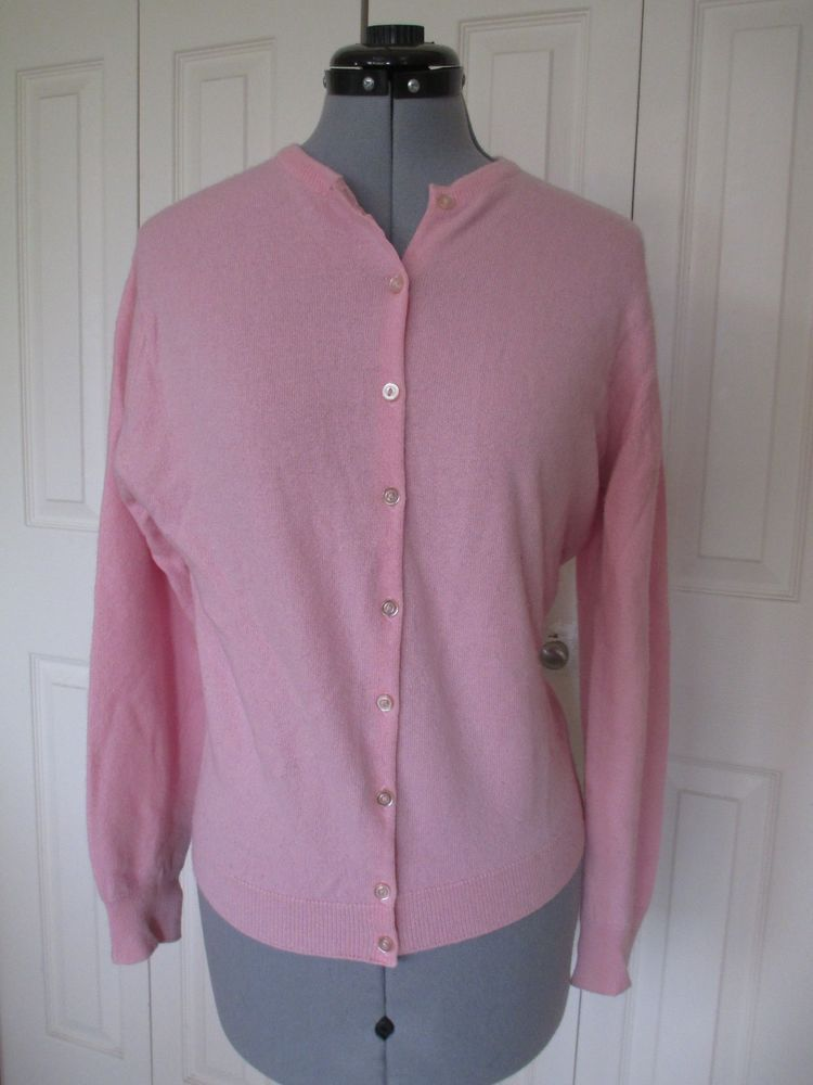 Vintage Pringle Cashmere Cardigan Sweater size 40 8 USA Pink ...