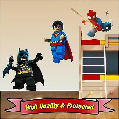 Lego Superhero Set Superman Spiderman Batman Wall Stickers Decal Childrens  Boys