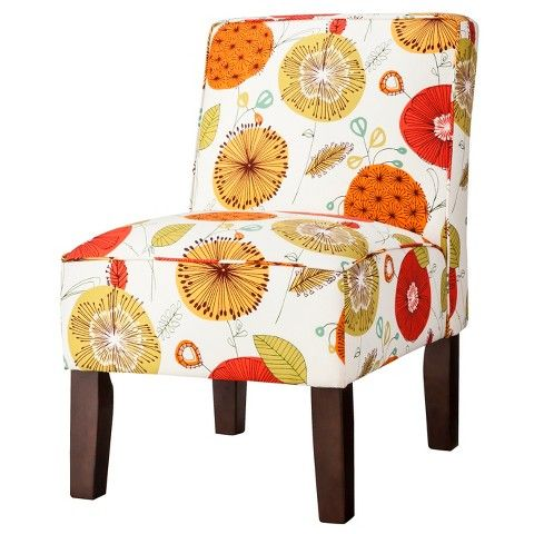 Burke Armless Slipper Chair   Whimsical Floral