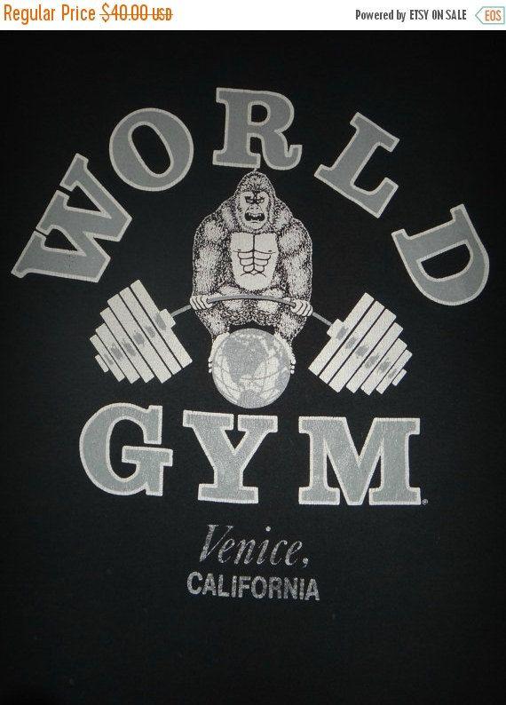 World Gym Venice California 50 50 1980s Vintage By Twistedfabrics Christmas Big Sale Venice California Vintage Tshirts