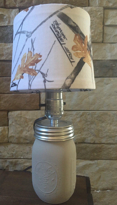 Light Gray Mason Jar Lamp With White Camo Lampshade Lamp Mason Jar Lamp Light Grey