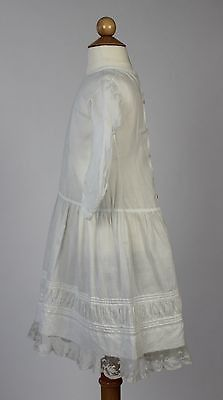 Antique White Cotton Child's Dress with Ruching and White Lace at the Hem